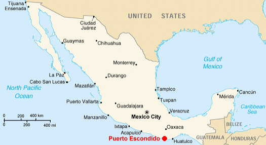 Puerto Escondido, Mexico map